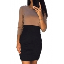 3/4 Length Sleeve Round Neck Color Block Mini Pencil Dress