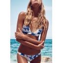 Chic Tie Dye Printed Spaghetti Straps Backless Triangle Bikini