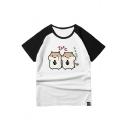 Hamsters Japanese Color Block Raglan Short Sleeve Leisure Tee