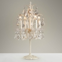 French Table Lamp 4 Light Crystal Chandelier Table Lamp Girls Bedroom Lamp in Antique White