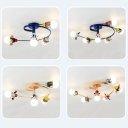 Lovely Swirl Arm Semi Flush Mount Safari Style Amusement Park Glass 4/6 Lights Lighting Fixture