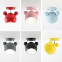 Rotatable Bear Shape Semi Flush Mount Modern Design Colorful Metal 1 Bulb Ceiling Fixture