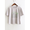 Plant Bottle Embroidered Round Neck Short Sleeve Leisure Tee