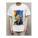 Fancy Painting Character Printed Round Neck Short Sleeve Tee