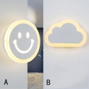 Acrylic Wall Light Simple Style with Smiling Face/Cloud for Corridor/Hallway