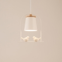 1-Light Wood Shde Hanging Pendant Light with Birds