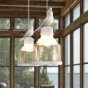1 Light Bird Decorative Downrod Ceiling Pendant Light with Pure Glass Shade