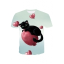 3D Balloon Cat Printed Round Neck Short Sleeve Tee