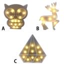Plastic LED Owl/Deer/Diamond Shape Decorative Kids Night Light Portable