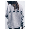 Bow Tie Lace Up Back Embellished Round Neck Long Sleeve Sweatshirt