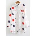 Geometric Printed Lapel Collar Long Sleeve Button Down Tunic Shirt