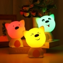 Portable Warm Light Bear Night Light with Color Changing for Kids Sleeping in Pink/Blue/Purple