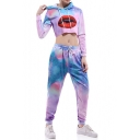 Digital Lip Printed Long Sleeve Crop Hoodie with Drawstring Waist Loose Pants Co-ords