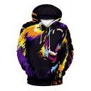 3D Abstract Bear Printed Long Sleeve Leisure Hoodie