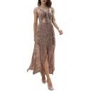 Tribal Printed Spaghetti Straps Sleeveless Hollow Out Waist Split Front Maxi Cami Dress