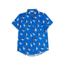 All Over Glasses Dog Printed Lapel Collar Short Sleeve Button Down Shirt