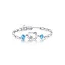 Cat Pattern Diamante Silver Bracelet
