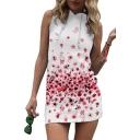 Floral Printed Sleeveless Slim Mini Hooded Pencil Dress