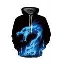 Fire Dragon Printed Long Sleeve Loose Hoodie