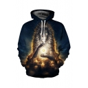 Digital Starry Sky Lion Printed Long Sleeve Loose Hoodie
