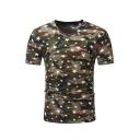 Star Camouflage Printed V Neck Short Sleeve Slim Tee