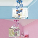 Adorable Bear 3 Lights Suspended Light Blue/Pink Wooden Ceiling Pendant Lamp for Baby Kids Room