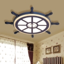 Nautical Ship Wheel Flush Mount Fixture Kids Acrylic 1 Light LED Ceiling Light in Navy Blue
