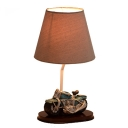 Vintage Tapered Table Lamp with Motorcycle Base Fabric Shade 1 Bulb Standing Table Light for Bedside