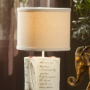 Cylinder Shade Table Light with Book Decoration Vintage Fabric 1 Bulb Table Lamp for Study Room