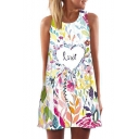 LOVE Letter Heart Leaf Printed Round Neck Sleeveless Mini A-Line Dress