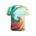 3D Colorful Vortex Painting Printed Round Neck Short Sleeve Tee