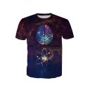 3D Brain Printed Round Neck Short Sleeve Tee