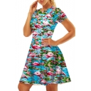 Flamingo Printed Round Neck Short Sleeve Mini A-Line Dress