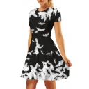 Feather Printed Round Neck Short Sleeve Mini A-Line Dress