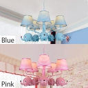 Strips Shade Hanging Lamp with Elephant Boys Girls Bedroom Fabric 5 Lights Lighting Fixture in Blue/Pink