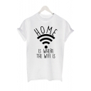 Wifi HOME Letter Printed Round Neck Short Sleeve Tee