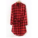 Plaid Printed Lapel Collar Long Sleeve Button Down Tie Waist Midi Shirt Dress