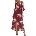 3/4 Length Sleeve V Neck Floral Printed Split Front Maxi Asymmetric Dress