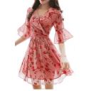 V Neck Floral Printed Ruffle Detail Half Sleeve Mini A-Line Chiffon Dress