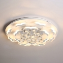 Modern Led Flush Mount Light Crystal Ball Flushmount Ceiling Light for Living Room Dining Room