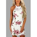 Lace Insert Halter Sleeveless Floral Printed Crisscross Back Mini Pencil Dress