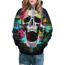 Colorful Skull Printed Long Sleeve Unisex Hoodie