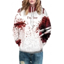 I'M FINE Letter Blood Printed Long Sleeve Loose Hoodie