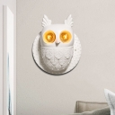 Resin 2-Light Lovely Owl Wall Sconce in White