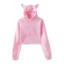 Cute Plain Cat's Ears Embellished Long Sleeve Crop Hoodie