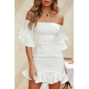 Ruffle Trim Off The Shoulder Half Sleeve Mini Pencil Dress