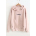 NORMAL Letter Embroidered Long Sleeve Leisure Hoodie
