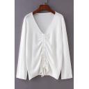 Drawstring Front V Neck Long Sleeve Plain Sweater