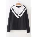 Fake Two Pieces Color Block Striped Printed Round Neck Long Sleeve Sweatshirt