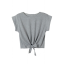 Round Neck Knotted Front Short Sleeve Plain Crop Tee
